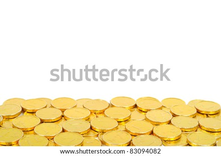 Gold coins of one euro boarder, isolated on white - stock photo