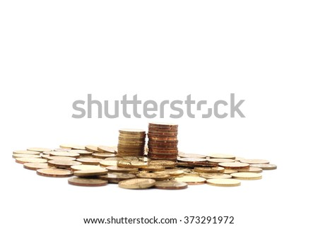 Gold coins of one malaysian currency, isolated on white