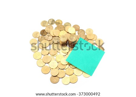 Gold coins of one malaysian currency with green memo