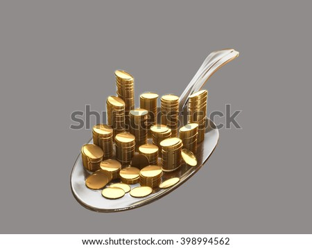 Gold coins on a silver spoon.3D rendering