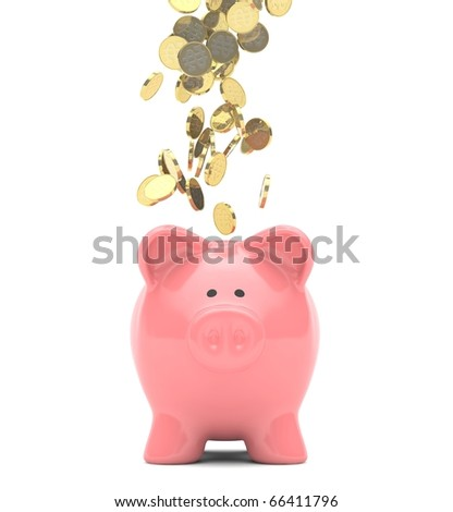 Gold coins raining down onto a pink colored ceramic piggy bank.