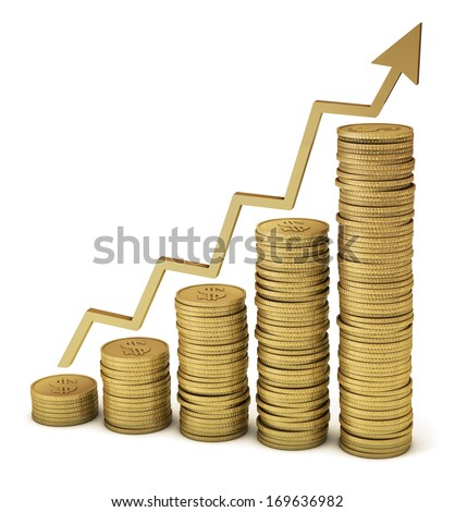 Gold coins showing savings, financial growth, increased profits, etc. Clipping path included for easy selection. - stock photo