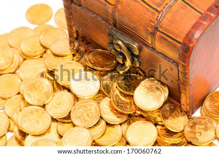 gold coins with wooden box - stock photo