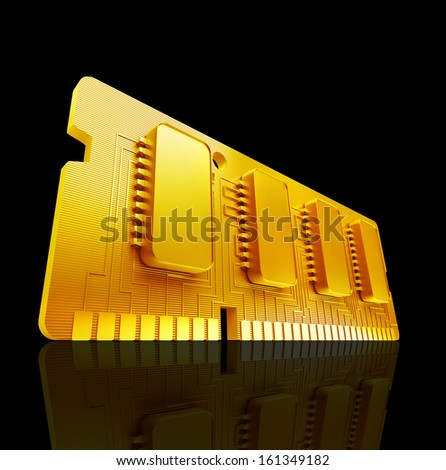 Gold collection. Computer RAM Memory Card 64gb 3d render High resolution  - stock photo