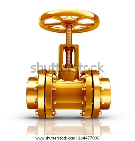 Gold collection. gas pipe with valve isolated on white background High resolution 3d  - stock photo