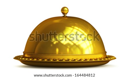 Gold collection. platter or cloche isolated on white background High resolution 3d  - stock photo