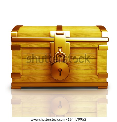 Gold collection. vintage chest with lockisolated on white background High resolution 3d  - stock photo