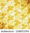 Gold color canvas fabric with floral motifs print for textural background. - stock photo