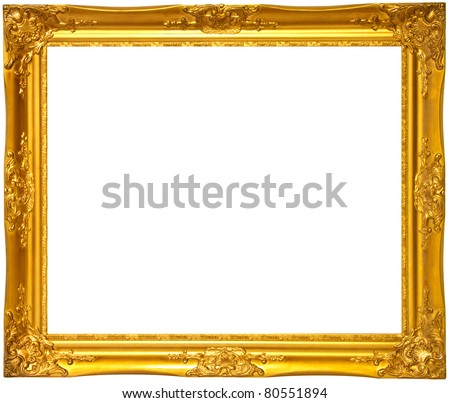 Gold color wooden photo frame - stock photo