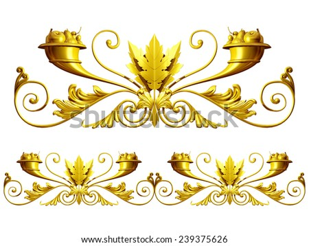 gold colored ornamental segment for a circle or a corner. This ninety degree angle complements my items for a frieze or frame.  - stock photo