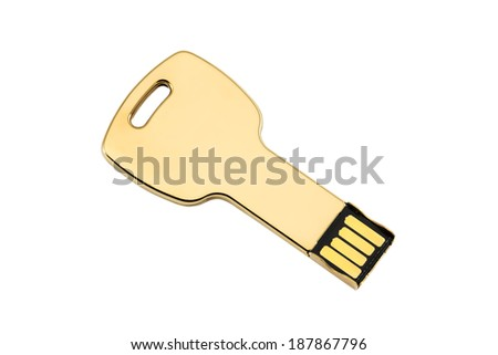 Gold colored USB-stick shaped like a key, isolated on white - stock photo