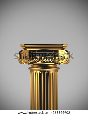 Gold Column Pedestal - stock photo