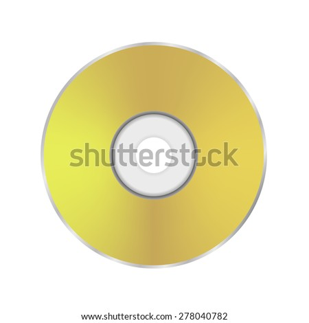 Gold Compact Disc Icon Isolated on White Background. - stock photo