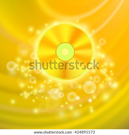 Gold Compact Disc Isolated on Yellow Wave Blurred Background - stock photo