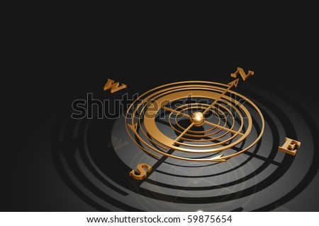 Gold Compass 3D render - stock photo