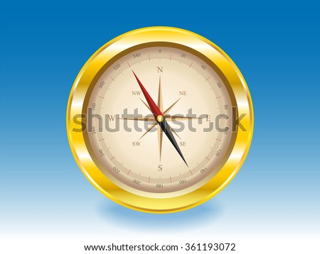 gold compass on a blue background. Raster version. Illustration - stock photo