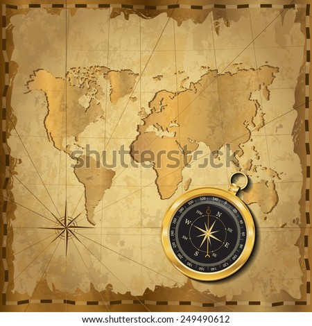 Gold compass with wind-rose on vintage map. Adventure stories background.