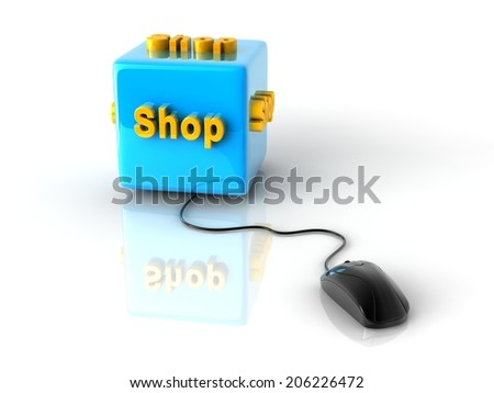 gold computer key Shop on reflective blue cube with computer mouse. - stock photo