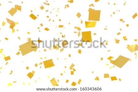 Gold confetti falling on a white background. - stock photo