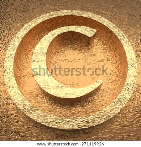 Gold copyright sign. - stock photo
