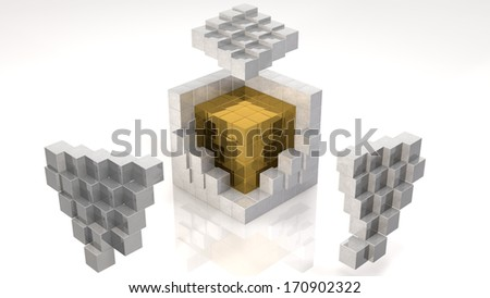 Gold Core Inside Open Cube (with clipping path) - stock photo