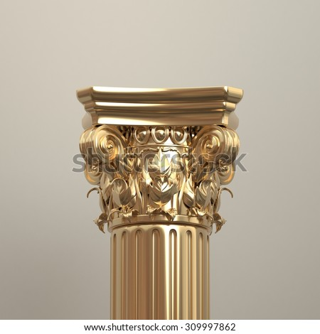 Gold Corinthian Column Closeup - stock photo