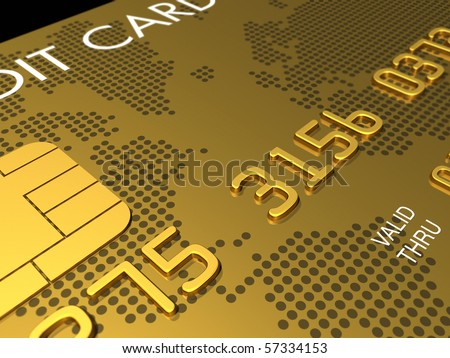 Gold credit card, macro detail - 3D render - stock photo