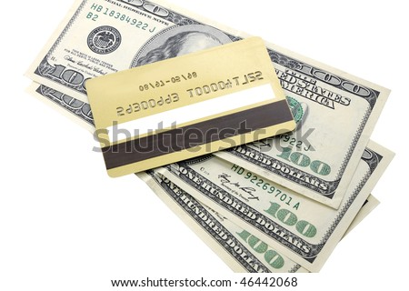 gold credit card on the background dollar - stock photo