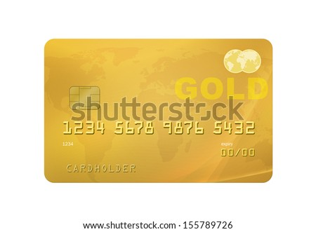 Gold Credit/Debit Card with world map on the background. Isolated on a white background with clipping path. - stock photo