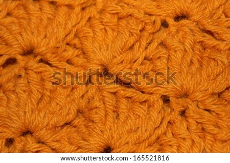 Gold Crochet Stitches Closeup - stock photo