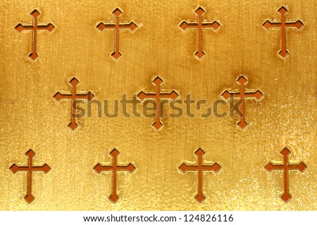 Gold cross  on the background - stock photo