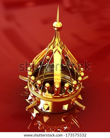Gold crown isolated on red background  - stock photo