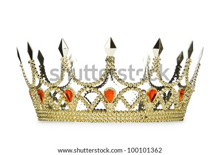 Gold crown isolated on the white - stock photo