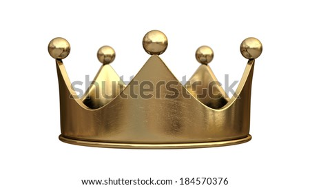 Gold crown isolated on white background High resolution - stock photo