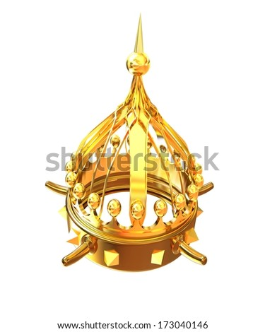 Gold crown isolated on white background. Horn - a symbol of strength and power - stock photo
