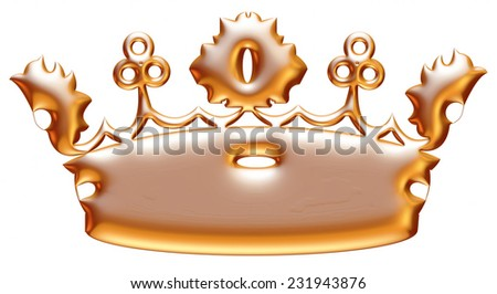 Gold crown representing royalty and wealth as an award symbol for nobility and leadership isolated on white.