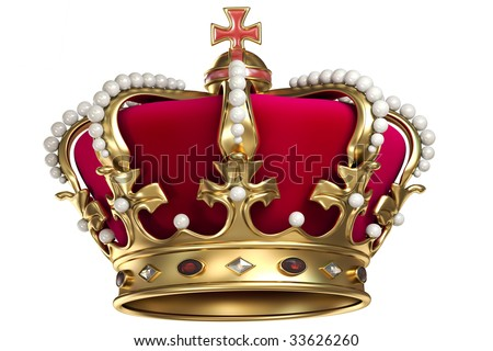 Gold crown with jewels and red velvet, isolated a white background. - stock photo