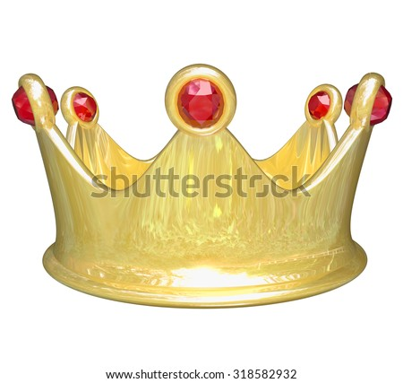 Gold crown with red jewels to illustrate royal VIP treatment as a king, queen, prince or princess - stock photo