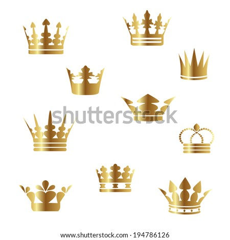 gold crowns - stock photo