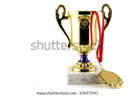gold cup and gold medal with ribbon - stock photo
