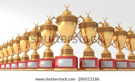 gold  Cups  of the winner - stock photo