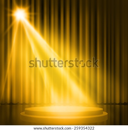 Gold curtains on theater with spotlight. - stock photo