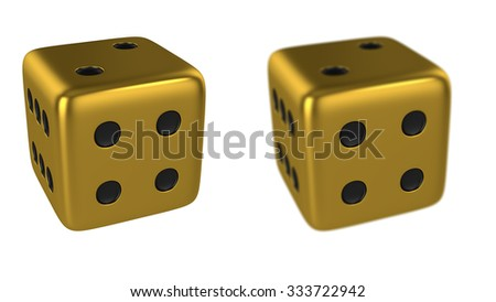 Gold 3D Dice Isolated on White Background, Show Numbers 4 Side and Focus Numbers 4 Side, Render Illustration.