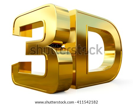 Gold 3D logo isolated on white background with reflection effect.