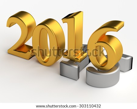 Gold 3d numbers of New Year 2016 over grey old 2015