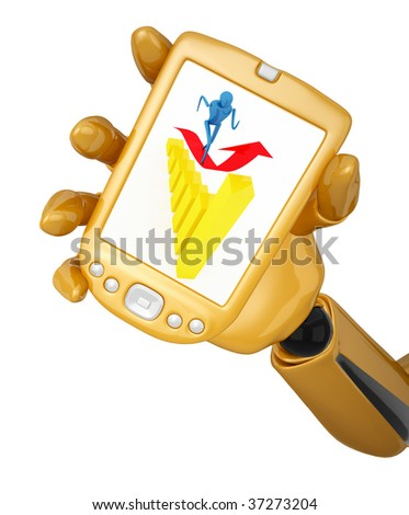Gold 3d robotic hand hold a gold pda with person on arrow. Including clipping path - stock photo