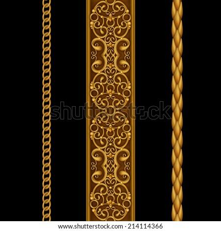 gold decorative borders set, classical design elements isolated on black, illustration - stock photo