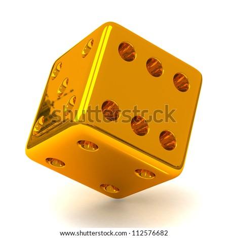 Gold dice 3d - stock photo