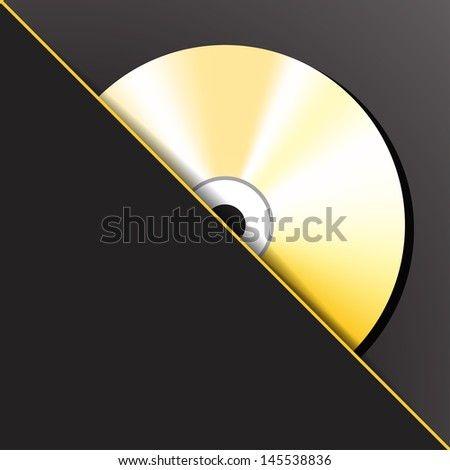 Gold digital CD (compact disc) in the pocket.  - stock photo