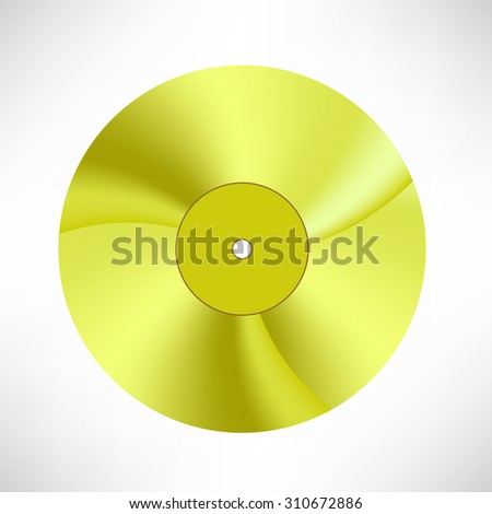 Gold Disc Isolated on White Background. Musical Record. Yellow Vinyl Icon - stock photo
